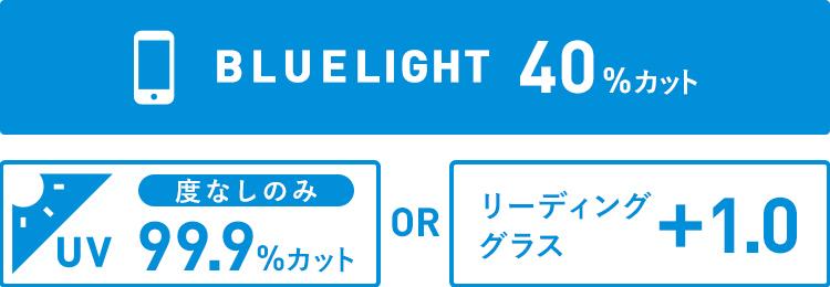 ブルーライトカット40%・度なしのみUVカット99.9%