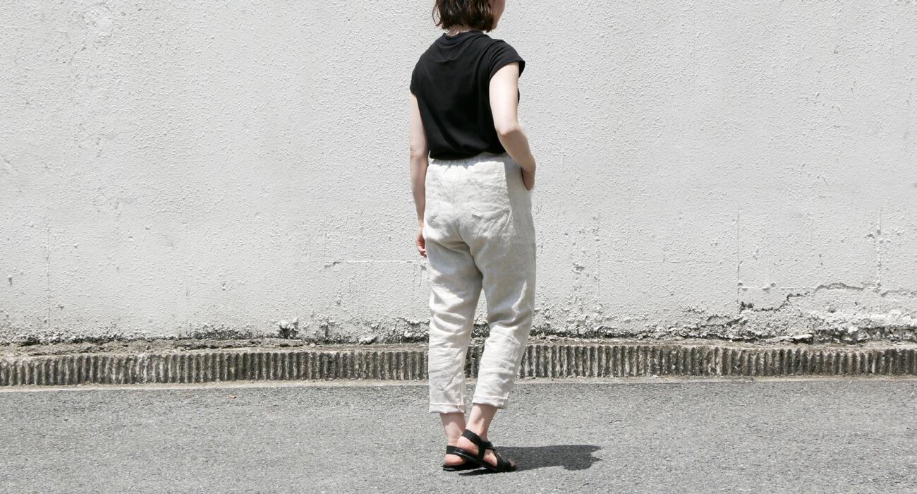 "mumokuteki×08Mab / リネンテーパード裏地付きパンツ特集5"" width="