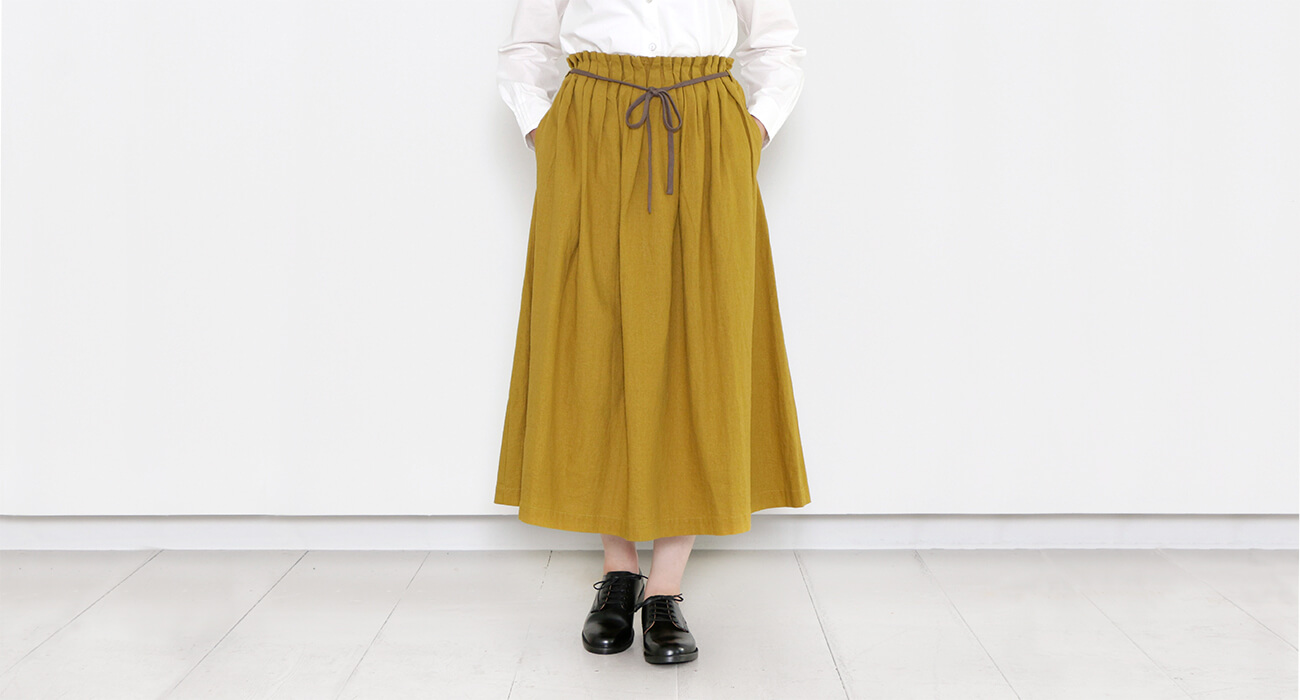 "mumokuteki×LILASIC / ウエストタックプリーツロングスカート特集2"" width="
